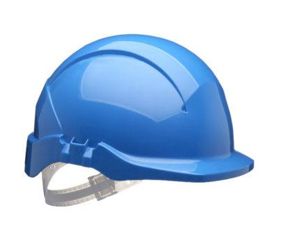 blue reduced peak safety helmet