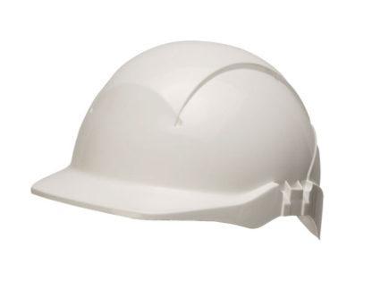 reduced peak white safety helmet